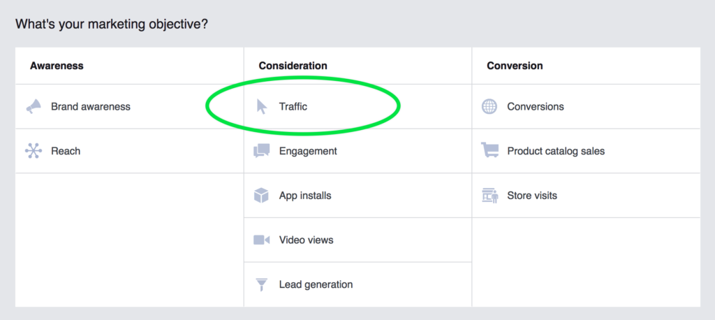 Facebook ad objective - Traffic
